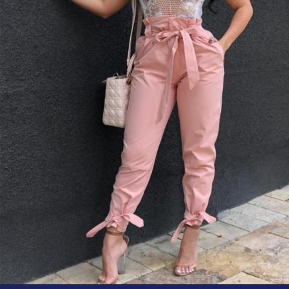 Pants - Frill Waist Belted Tied Ankle Pants